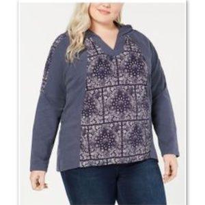 Style & Co Macy's Plus Hooded Bandana Knit Top NWT